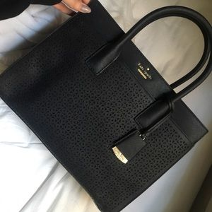 Kate Spade Perforated Candace Satchel Black